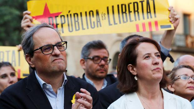 El presidente de la Generalitat, Quim Torra, y la presidenta de la ANC, Elisenda Paluzie