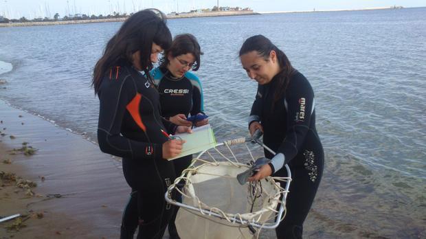 Trabajos de inspección en playas por personal del proyecto europeo LIFE Cubomed