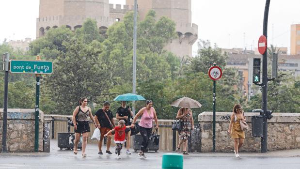 Imagen de archivo de un día de lluvia en Valencia