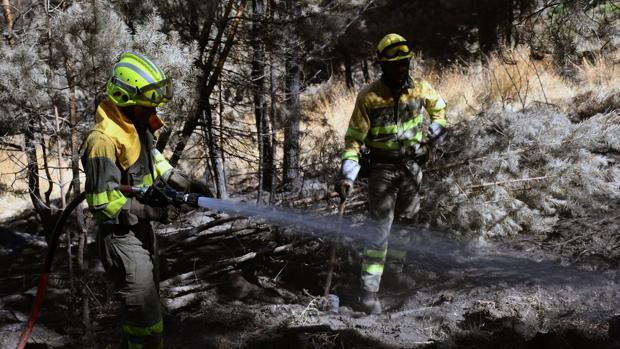 Los bomberos refrescan la zona afectada por el incendio que se originó el pasado 4 de agosto en La Granja