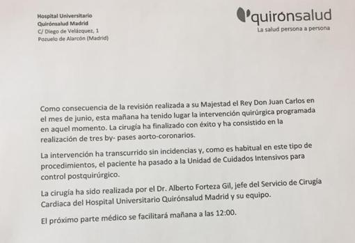 Los médicos implantan con éxito tres baipases al Rey Juan Carlos