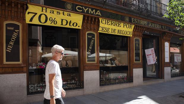 Fachada de la Joyería Cyma, en liquidación por cierre