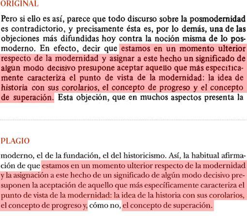 Plagio de Manuel Cruz (págs. 421-422) a «El fin de la modernidad», de Gianni Vattimo (pág. 11-12)
