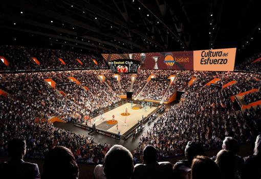Simulación del recinto durante un partido de baloncesto