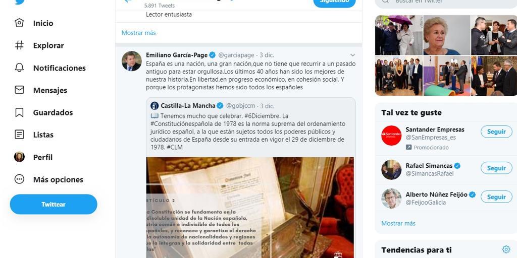 Éxito de Page con sus tuits sobre la indisoluble unidad de España
