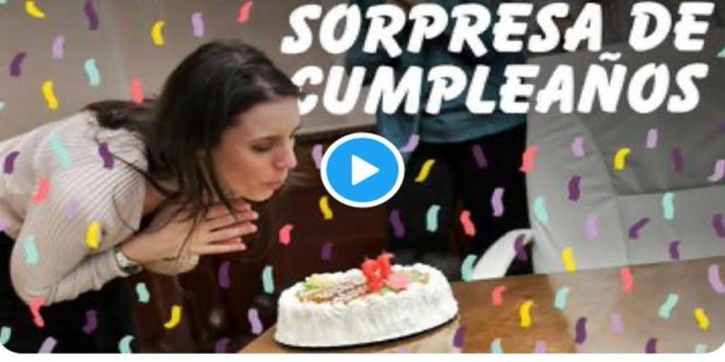 El «show» de Irene Montero: tarta sorpresa y el bebé a cuestas
