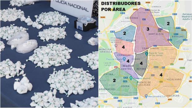 Mapa de Madrid dividido por zonas de influencia de los «camellos» de la red