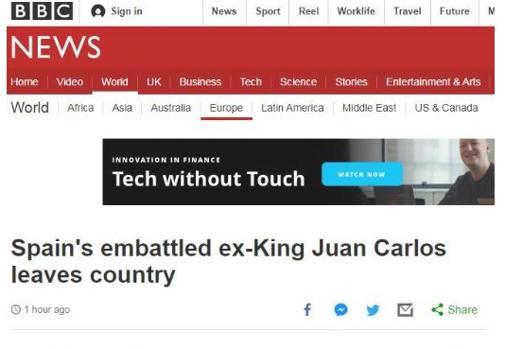 Portada de la BBC con el titular dedicado a Don Juan Carlos