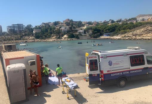 Imágenes del accidente en la cala El Morro Blanc este sábado