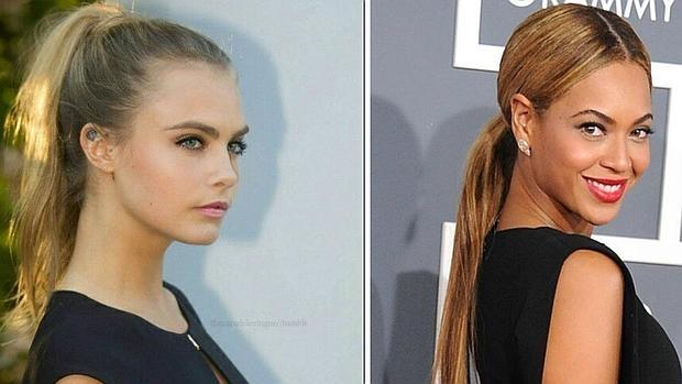 Cara Delevingne y Beyoncé, dos estrellas, dos coletas
