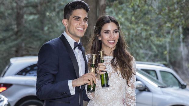 La pareja en su boda, el 18 de junio en Barcelona
