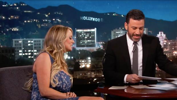Stormy Daniels, durante su intervención en el espacio televisivo de Jimmy Kimmel