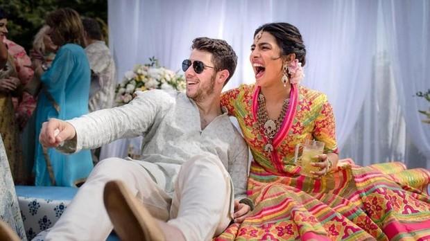 Nick Jonas y Priyanka Chopra en una de las celebraciones de su boda en la India