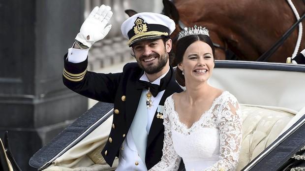 Carlos Felipe y Sofía de Suecia, en 2015, el día de su boda