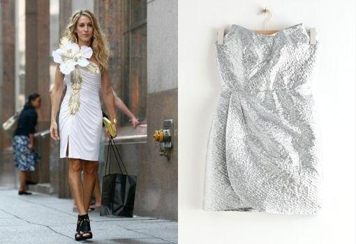 Metallic draped strapless neckline dress from & OtherStories.  Price: € 89.