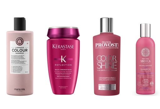 From left to right: María Nila Luminous Color Shampoo (€ 27);  Kérastase Reflection Bain Chromatique Riche Dyed Hair Shampoo (€ 13.80);  Franck Provost Color Shine Shampoo (€ 13.20);  and Oil-plex Shampoo for colored hair by Natura Siberica (€ 5.29).