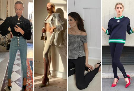 Thora Valdimars, Leonnie Hanne, Alex Rivièrey Amaia Salamanca with leggings & # 039; fuseau & # 039;  in different versions