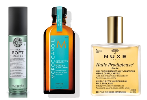 True Soft Argan Oil hair oil by María Nila (€ 27);  Moroccanoil oil, hair treatment with argan oil and vitamins (€ 37.57);  Huile Prodigieuse Riche de Nuxe multipurpose oil (€ 31.90).