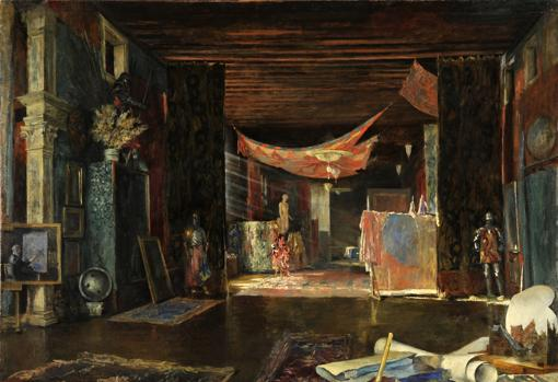Study of the Pesaro Orfei Palace in Venice painter by the couturier himself