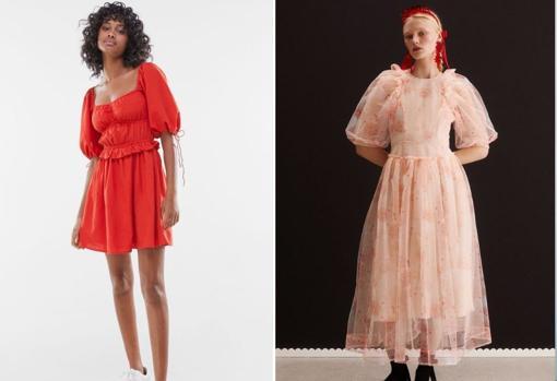 De izda. a dcha.: Vestido rústico con manga abullonada, de Bershka (25,99€). Vestido de tul de Simone Rocha x H&M (149,90€).