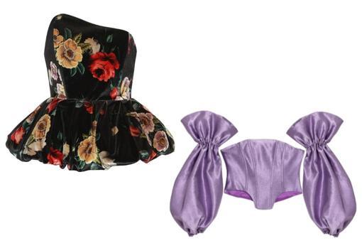 De izda. a dcha.: Corsé de terciopelo con flores, de The Attico (453€). Corsé lila con frunces, modelo Gigi, de The Coolslaw (219,95€).