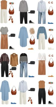 Example of garments for a capsule wardrobe