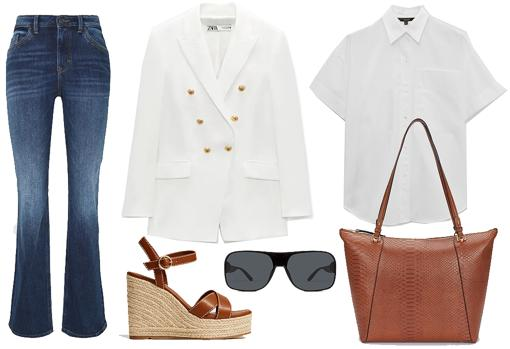 From left  Right: High-waisted flared jeans from Esprit (€ 59.90).  Fitted double lapel blazer from Zara (€ 59.90).  Wedge sandal with straps, by Mango (€ 39.99).  Unisex screen sunglasses, made of black plastic and gray lenses, by Multiópticas (€ 29).  Poplin shirt with short sleeves, by Massimo Dutti (€ 25.95).  Shopper bag with animal print and removable inner bag, by Parfois (€ 25.99).