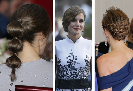 Some of the most curious hairstyles that Queen Letizia has worn: bubble ponytail, vintage updo and bun with braids.