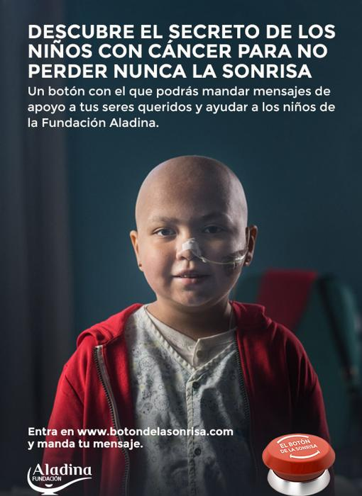 Daniela is the image of the Aladina Foundation's Smile Button campaign