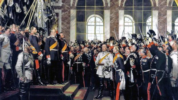 Guillermo I de Prusia proclama el Imperio alemán en el Palacio de Versalles, 1871