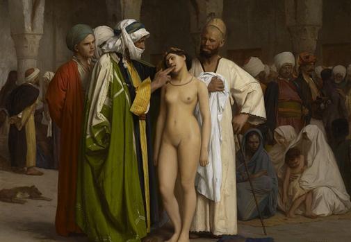 El mercado de esclavos, de Jean-Léon Gérôme (c. 1885).