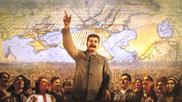 Cartel propagandístico de la Europa cominista de Stalin