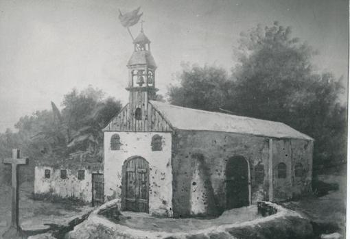 Ilustración de la Iglesia de Baler convertida en fortín por los españoles