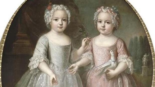 Ana Enriqueta junto su hermana gemela Luisa Isabel, ambas hijas de Luis XV de Francia, en 1737.