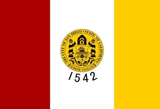 Bandera y escudo de la ciudad de San Diego