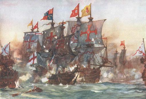 Así aplastó España el navío más temible de la Royal Navy: la gesta que Inglaterra quiere que olvidemos The_Last_fight_of_the_Revenge_off_Flores_in_the_Azores_1591_by_Charles_Dixon-kbe--510x349@abc