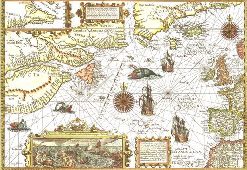 Mapa de las ballenas del Atlántico norte en 1592