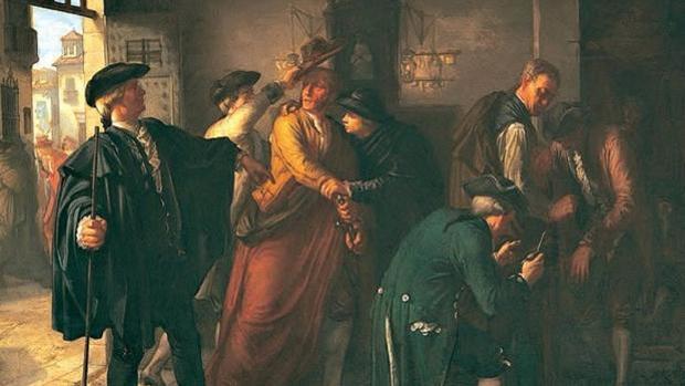 Episodio del motín de Esquilache, a principios del reinado de Carlos III, una pintura de historia de José Martí y Monsó