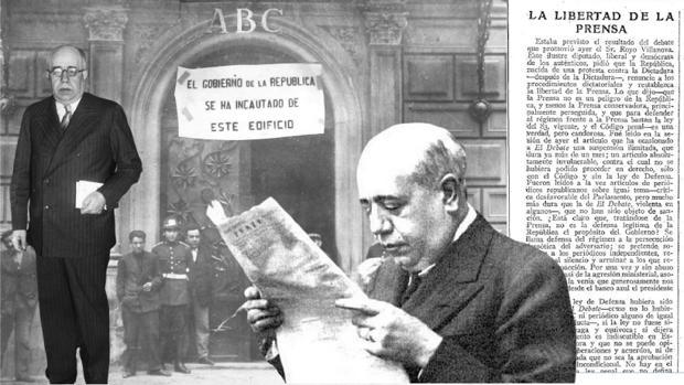 Montaje con imagénes de Manuel Azaña, sobre un editorial de ABC hablando de «La libertad de prensa» y la fotografía de la incautación del edifico de la redacción, en mayo de 1931