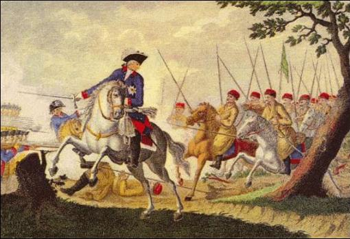Federico evita por poco ser capturado por los Cosacos en la batalla de Kunersdorf