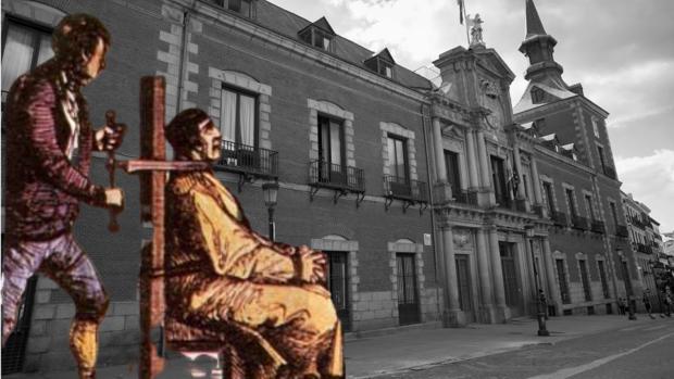 Grabado de la ejecución de Luis Cándelas, que estuvo preso en la Cárcel de Corte, sobre una imagen de la sede del Ministerio de Asuntos Exteriores