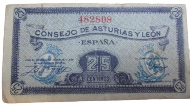 Billetes de 25 céntimos que emitió el Consejo Soberano de Asturias y León en 1937