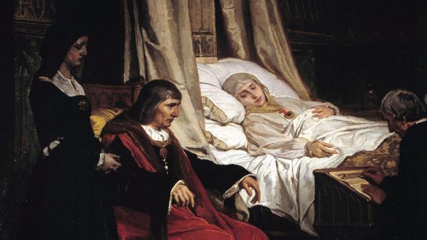 Doña Isabel la Católica dictando su testamento, oleo de Eduardo Rosales