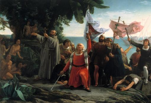 Pintura de Dióscoro Puebla sobre la llegada de Colón, (Exposición Nacional (1862), Medalla de Primera clase)