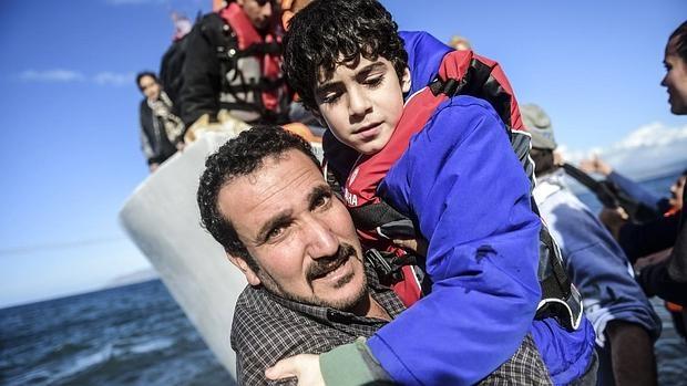 Un grupo de refugiados llega a Grecia procedente de Turquía