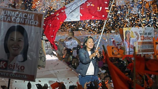 Keiko Fujimori, candidata del partido Fuerza Popular, durante el cierre de campaña, el jueves en Lima