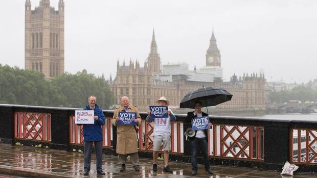 Un grupo de partidarios de la permanencia en la Unión Europea sostienen pancartas