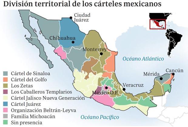 Distribución territorial de los cárteles de narcotraficantes en México, Fuente: DEA