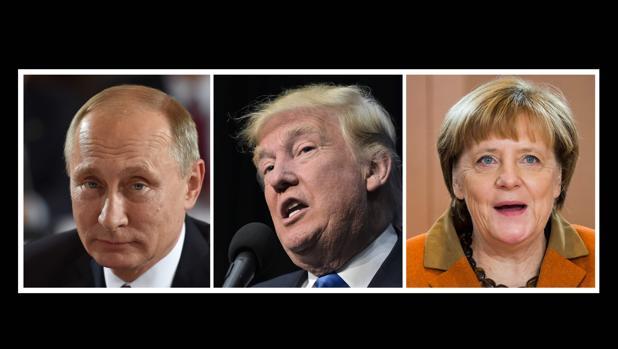 Combo con los rostros de las tres personas más poderosas del mundo: Putin, Trump y Merkel