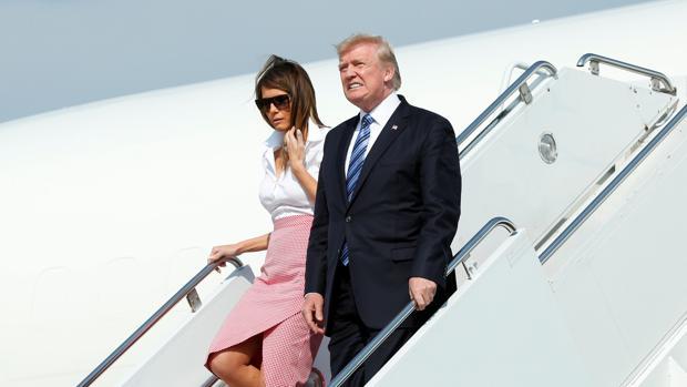 Donald Trump y su mujer aterrizan en New Jersey